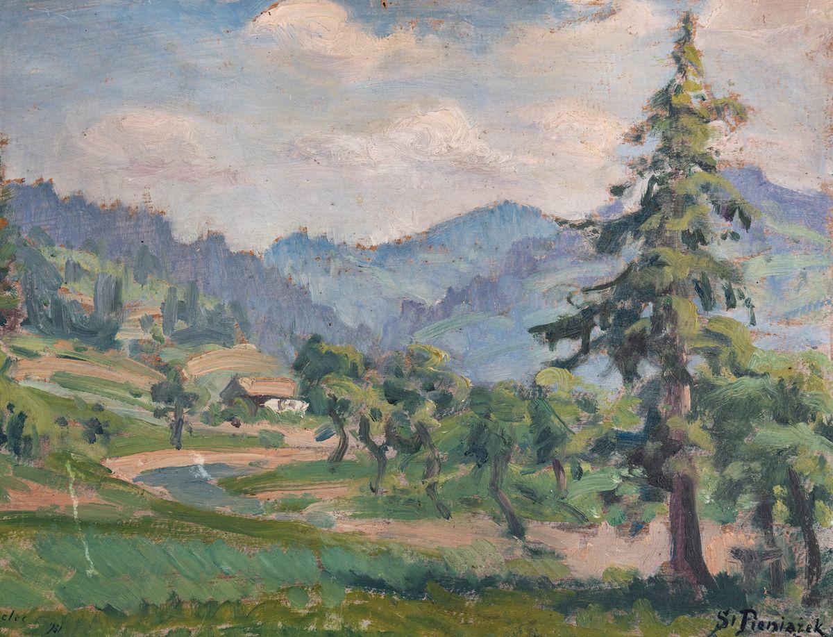 PEJZAŻ GÓRSKI ZE ŚWIERKIEM, 1931