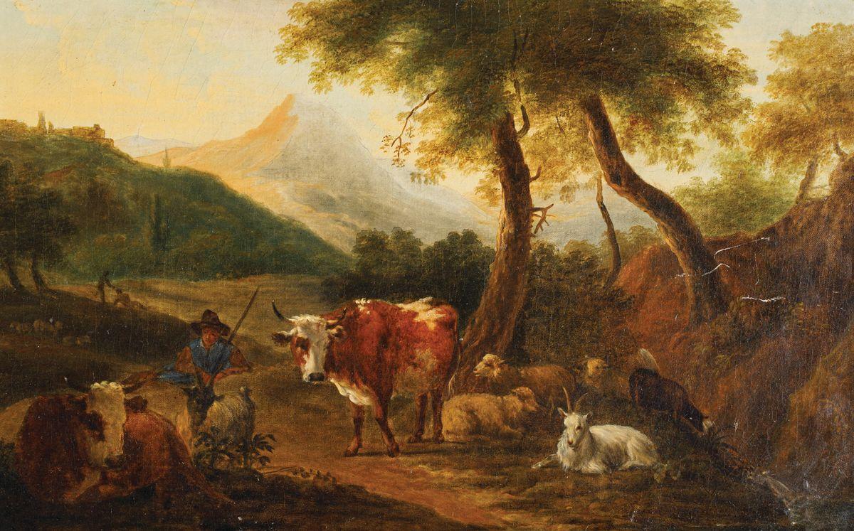 PASTERZ ZE STADEM WE WŁOSKIM PEJZAŻU, 1692