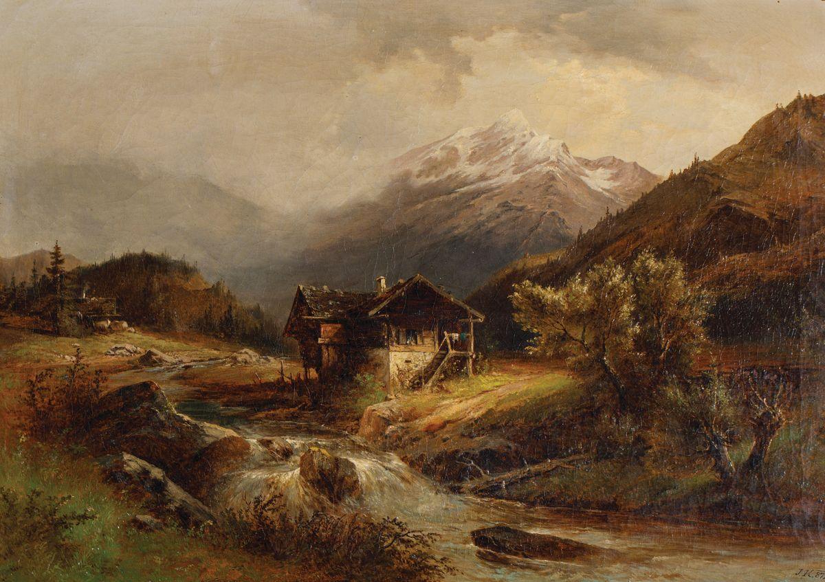 PEJZAŻ Z GÓRSKIM POTOKIEM, 1872