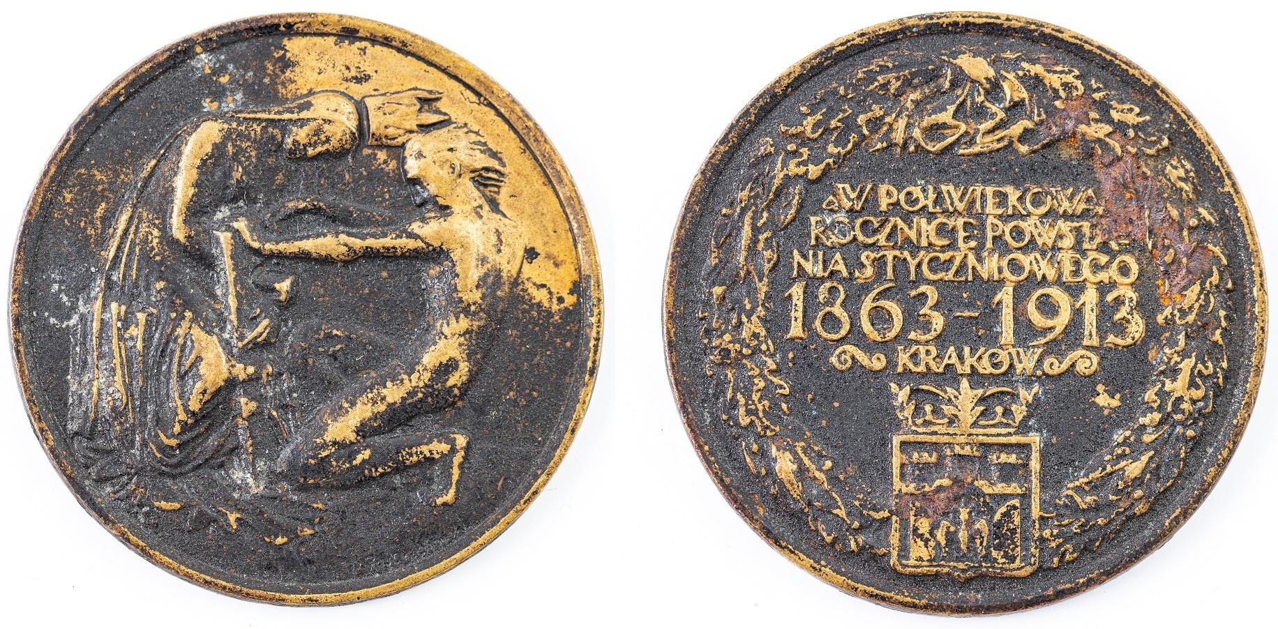 MEDAL, 50 ROCZNICA POWSTANIA STYCZNIOWEGO, Kraków, 1913
