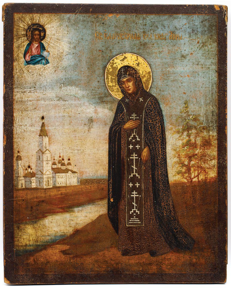 IKONA, ŚW. ANNA NOWOGRODZKA, Rosja, poł. XIX w.