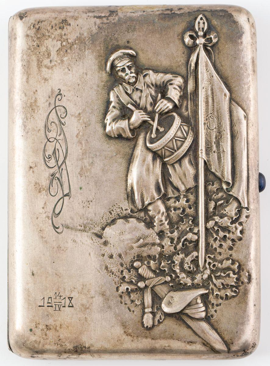 PAPIEROŚNICA Z DOBOSZEM, Rosja, Moskwa, 1 Kartel, 1908 - 1917