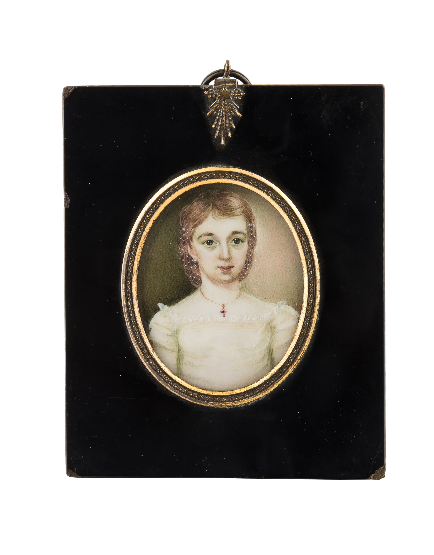 Miniatura - portret młodej damy, Anglia, k. XIX w.