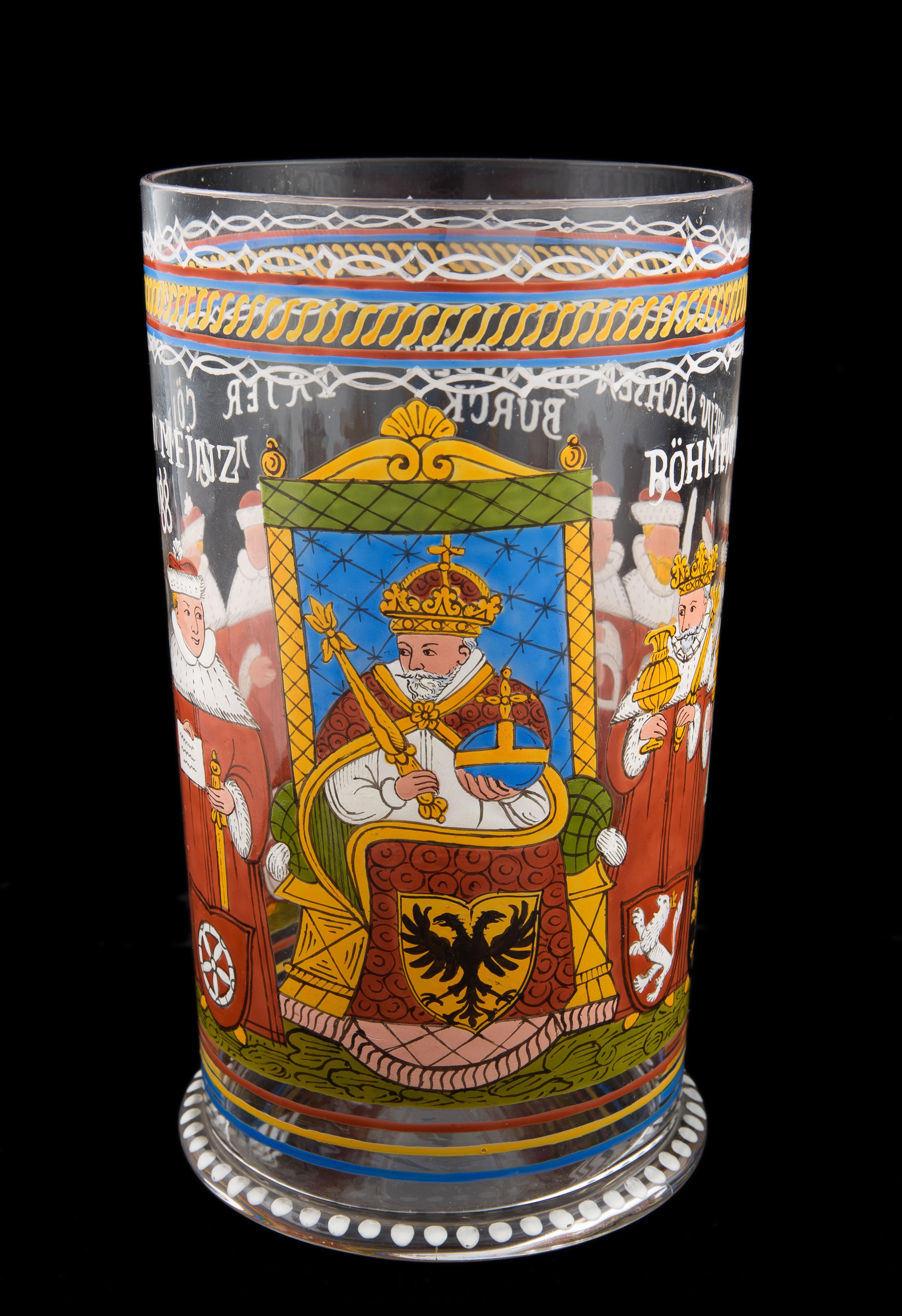 Szklanica z przedstawieniem cesarza i elektorów, Fritz Heckert, Piechowice, k. XIX w.