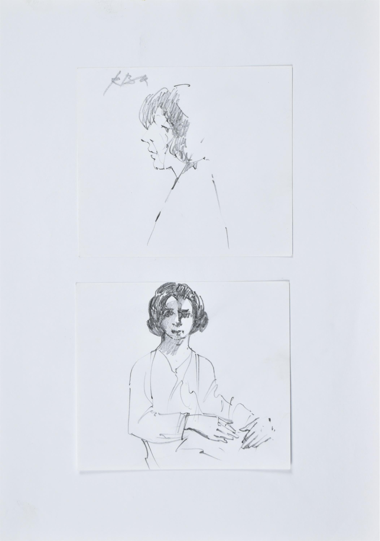 Dwa szkice: kobieta z lewego profilu oraz portret kobiety