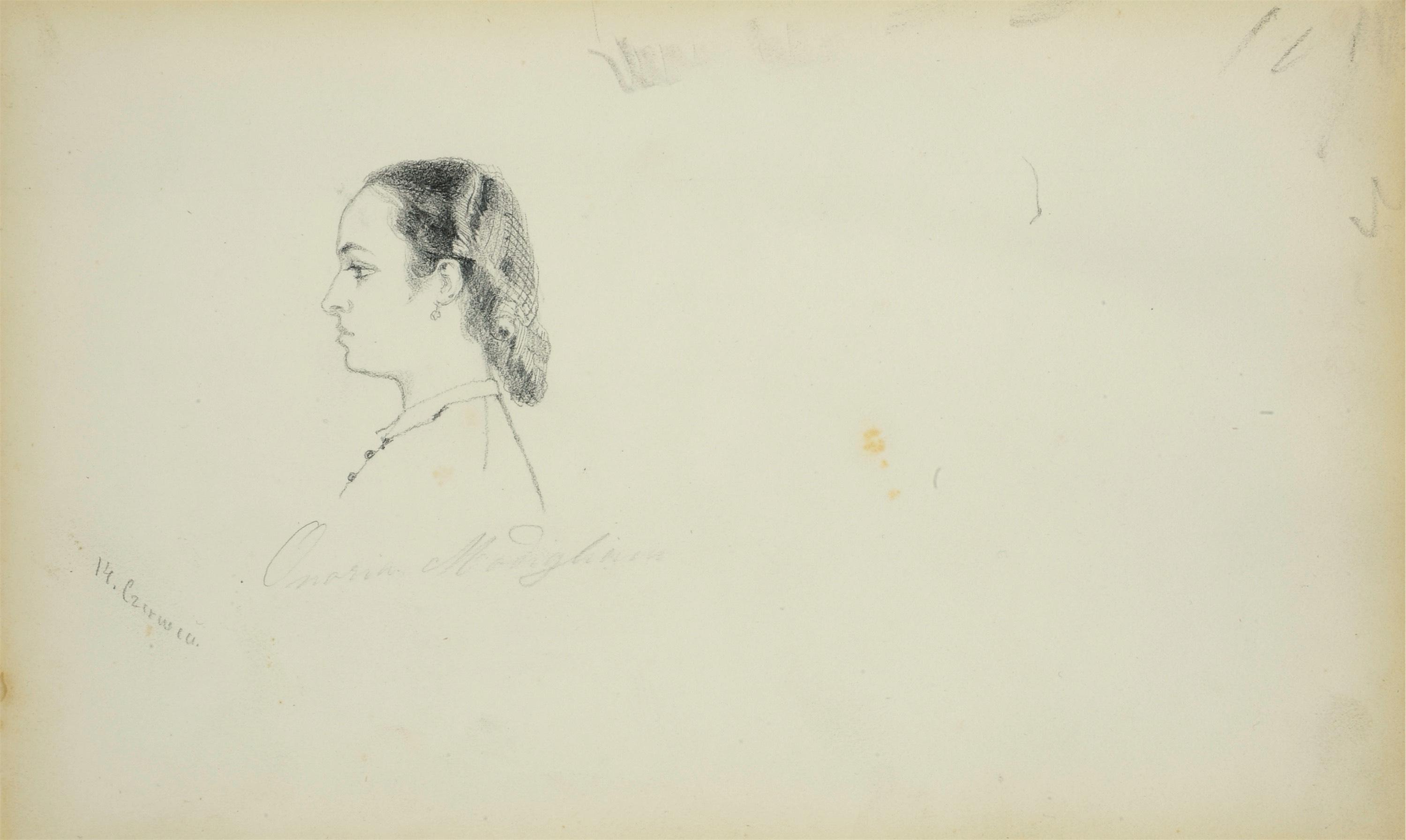 Portret młodej kobiety z profilu
