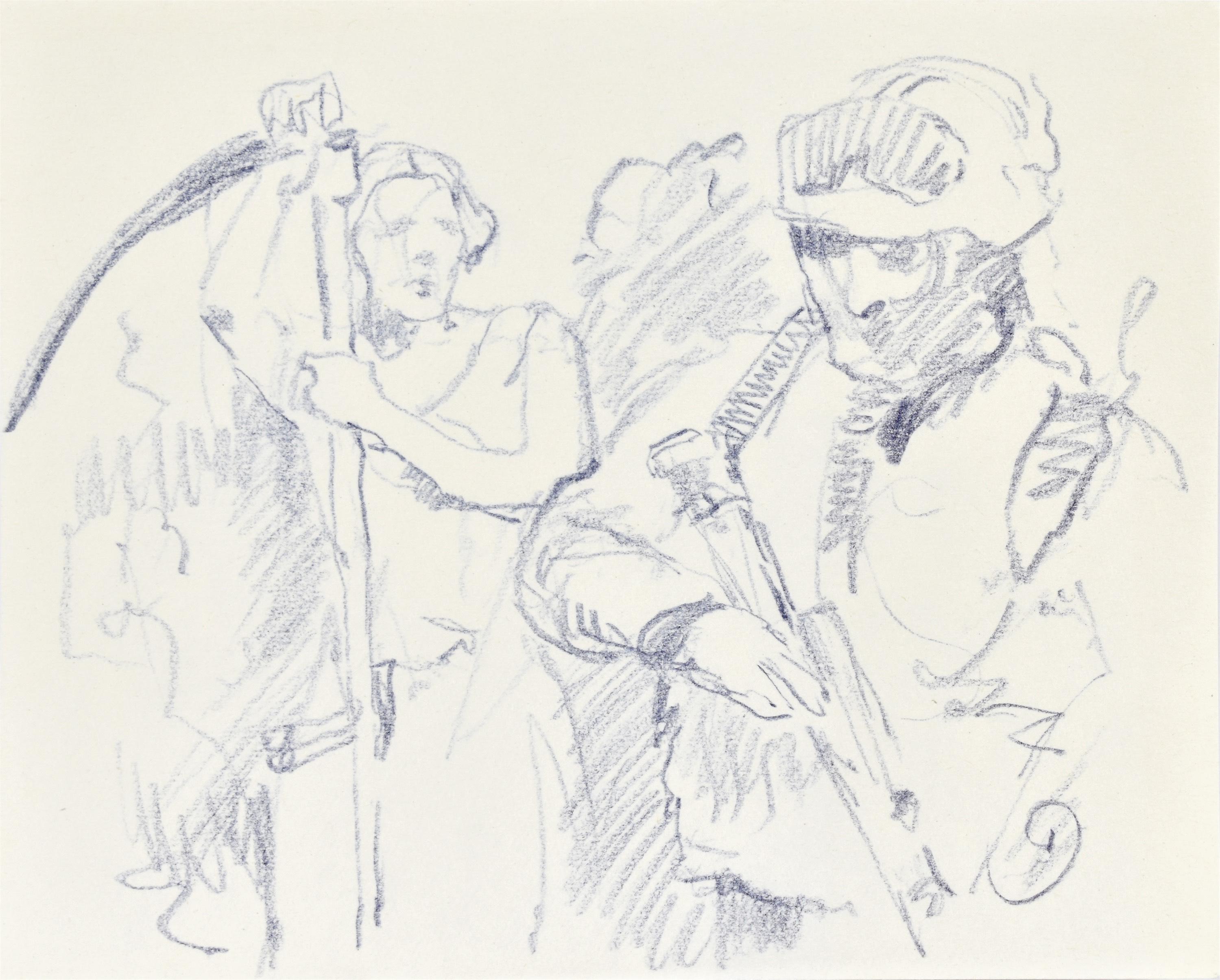 """Szkic dwóch postaci: mężczyzny z kosą oraz mężczyzny z karabinem do """"Magiczny Lechistan"""""""
