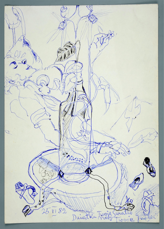 Śpiąca kobieta oraz gałązka w butelce na stoliku, 1982