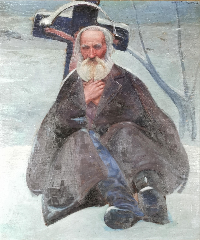 Starzec pod przydrożnym krzyżem, ok.1908