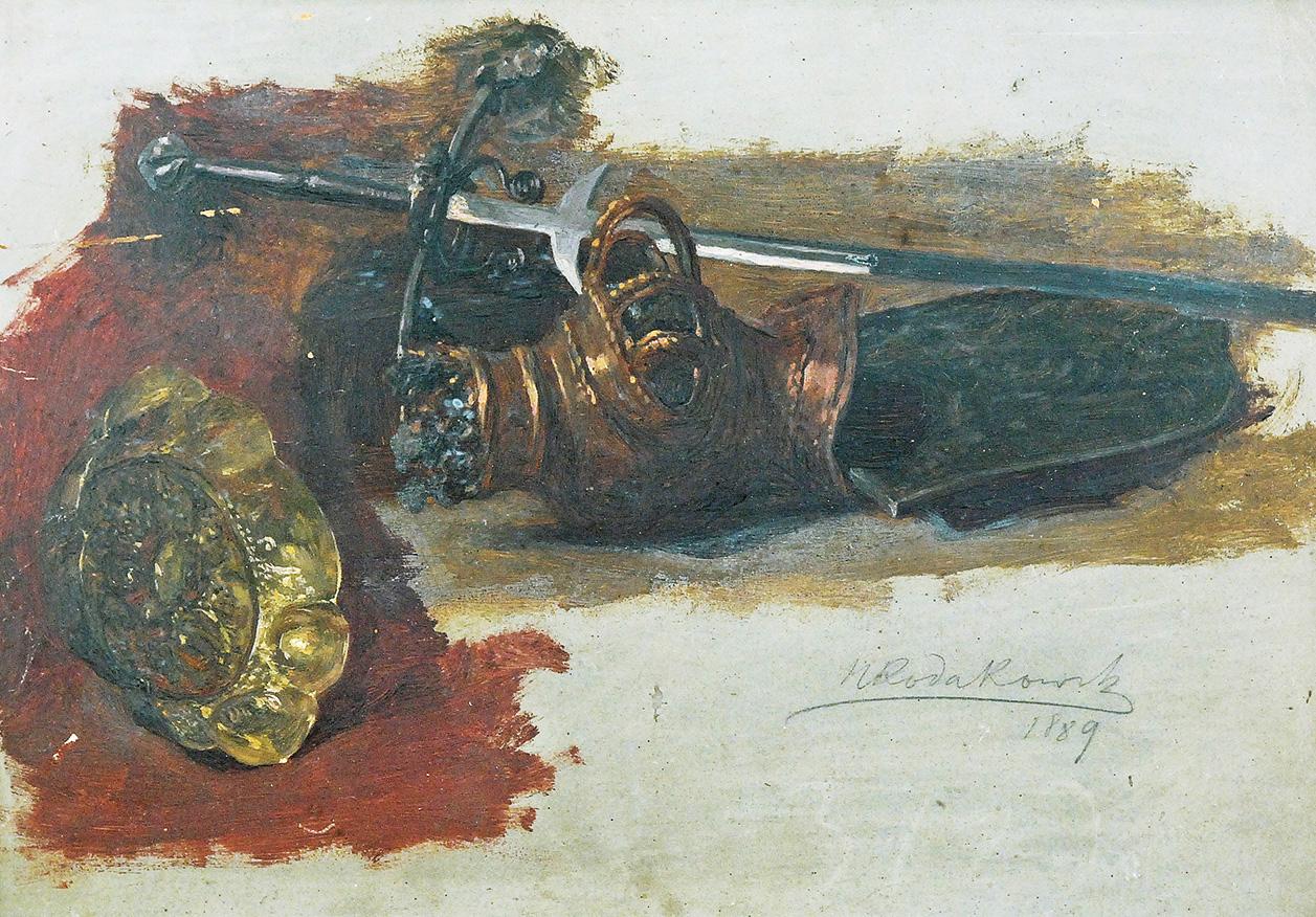 Studia hełmu, miecza i patery, 1889