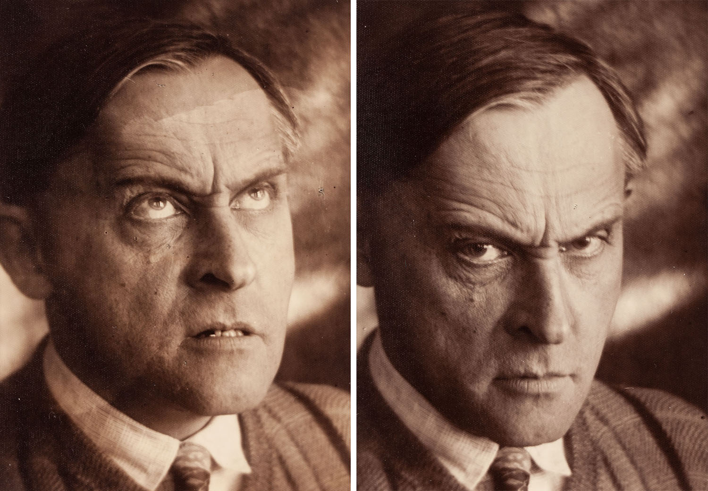 """Stanisław Ignacy Witkiewicz, z cyklu: """"Miny"""" (dyptyk), fot. Józef Głogowski, 1931"""