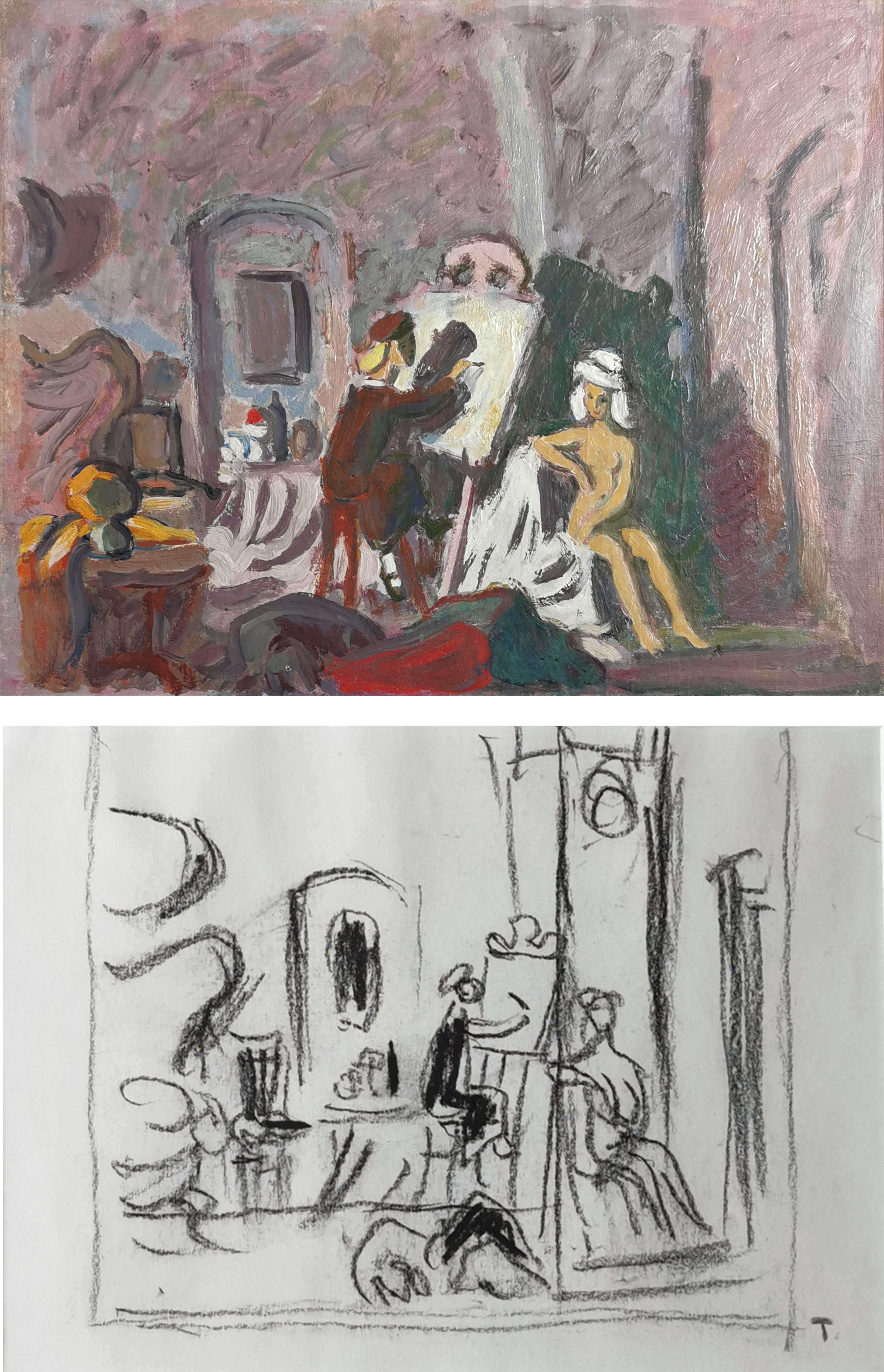 Mała malarka - obraz wraz ze szkicem do obrazu