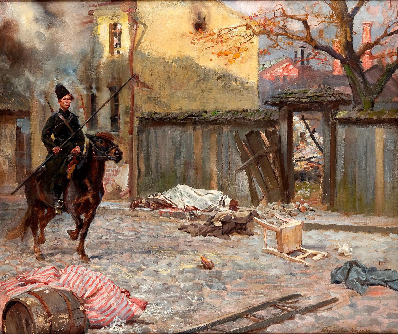 Scena z rosyjskiego miasteczka z kozakiem, 1907