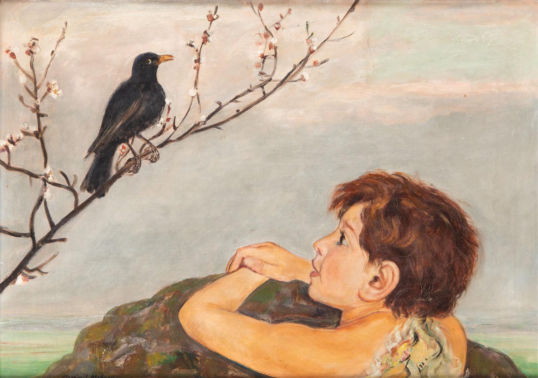Chłopiec słuchający treli ptaka