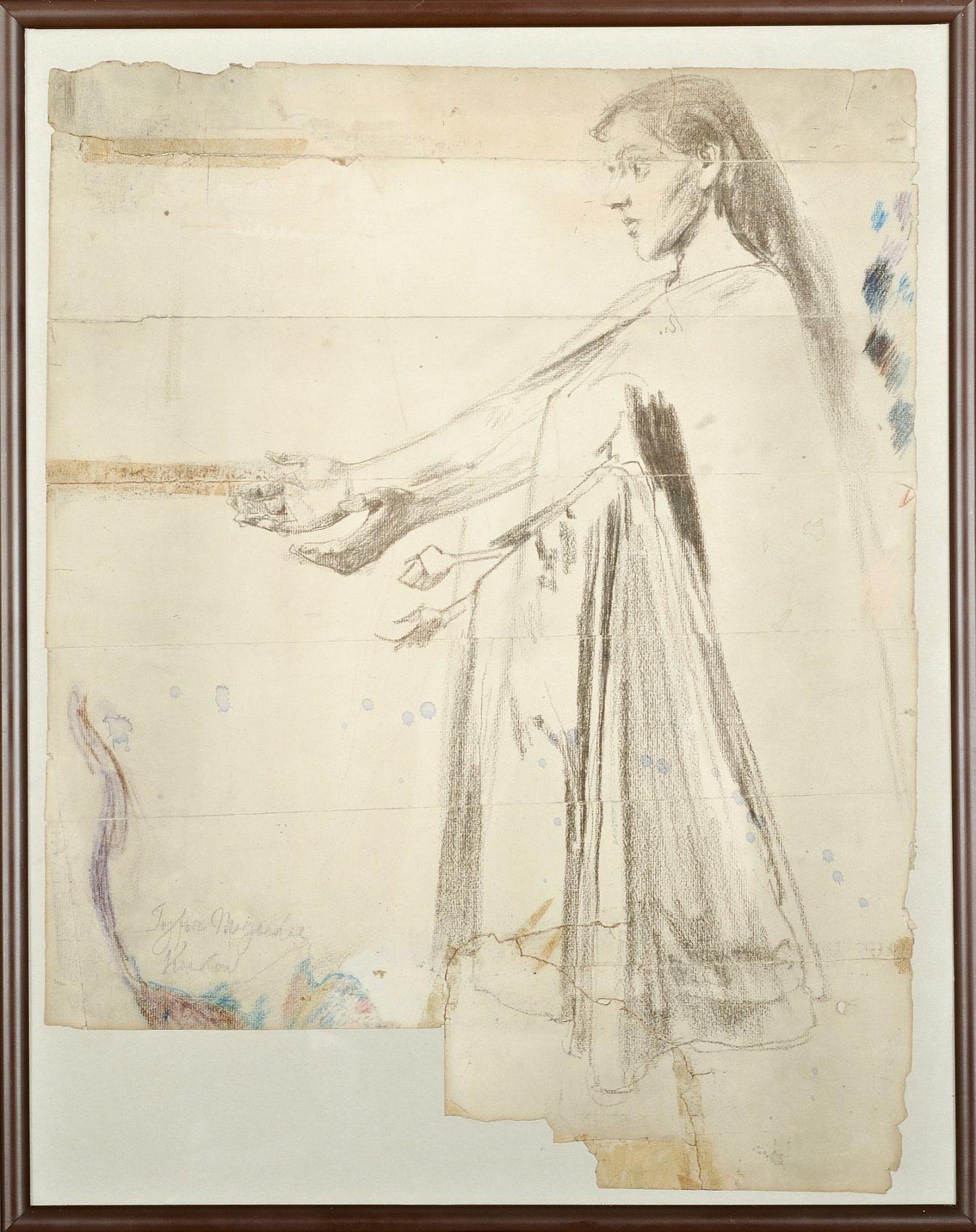 Szkic postaci Matki Bożej do polichromii tryforiów w kościele Mariackim w Krakowie, 1892-1895