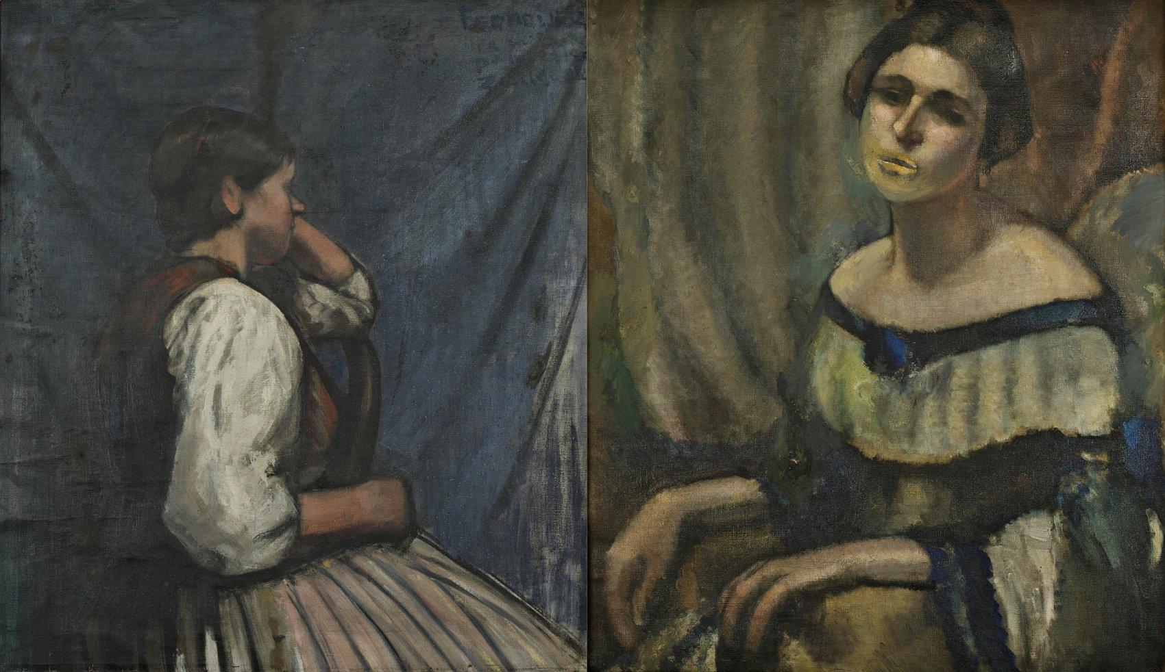 Portret kobiety na krześle, Portret Ludwiki Mehofferowej (obraz dwustronny)