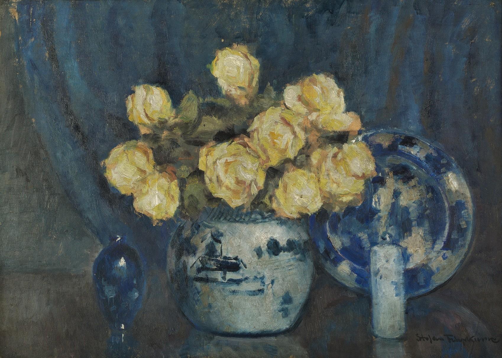 Martwa natura z żółtymi różami
