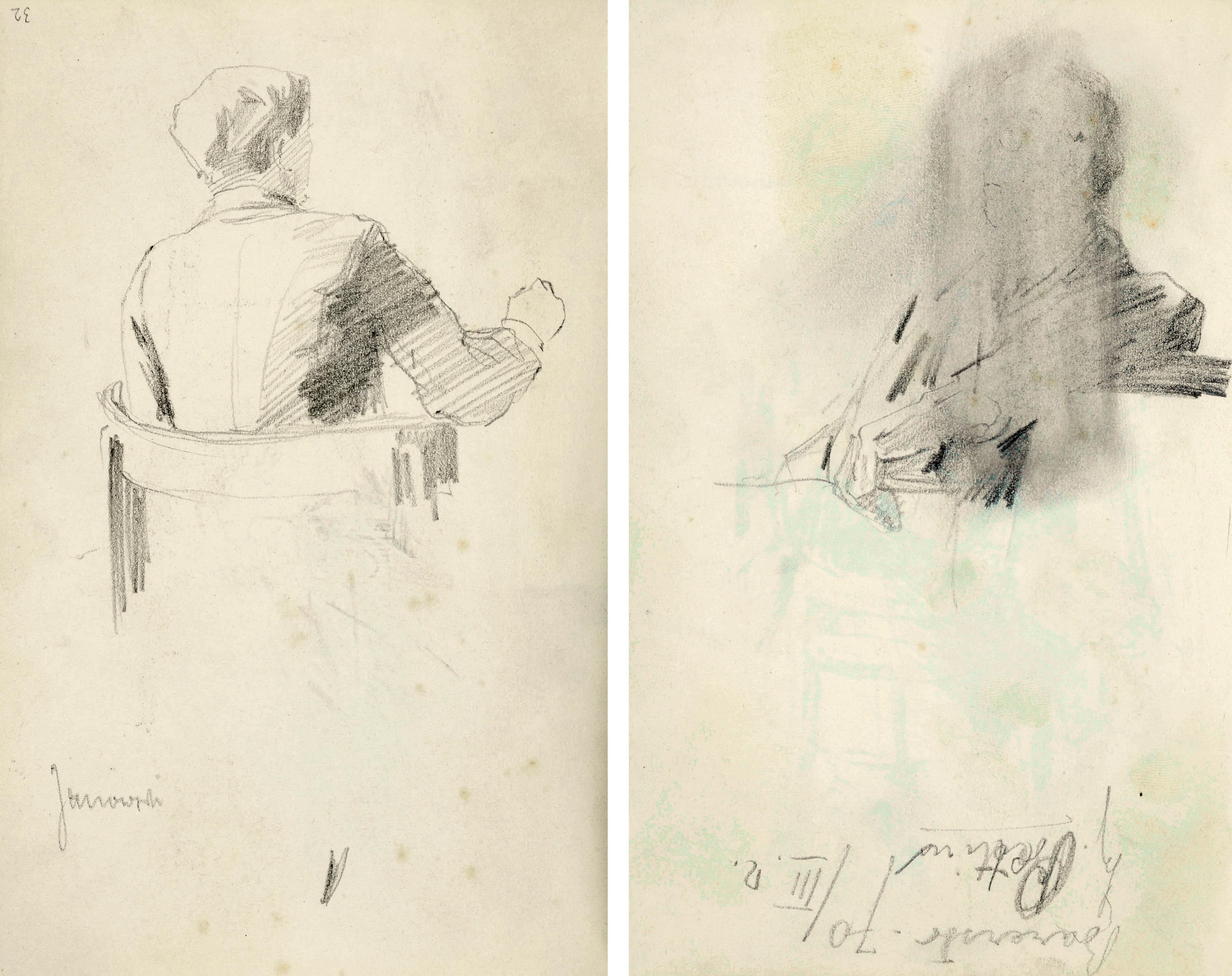 Mężczyzna siedzący w fotelu oraz szkice głów – Stanisław Janowski przy pracy