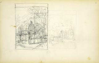 Kobieta na tle pejzażu – szkice dwóch obrazów