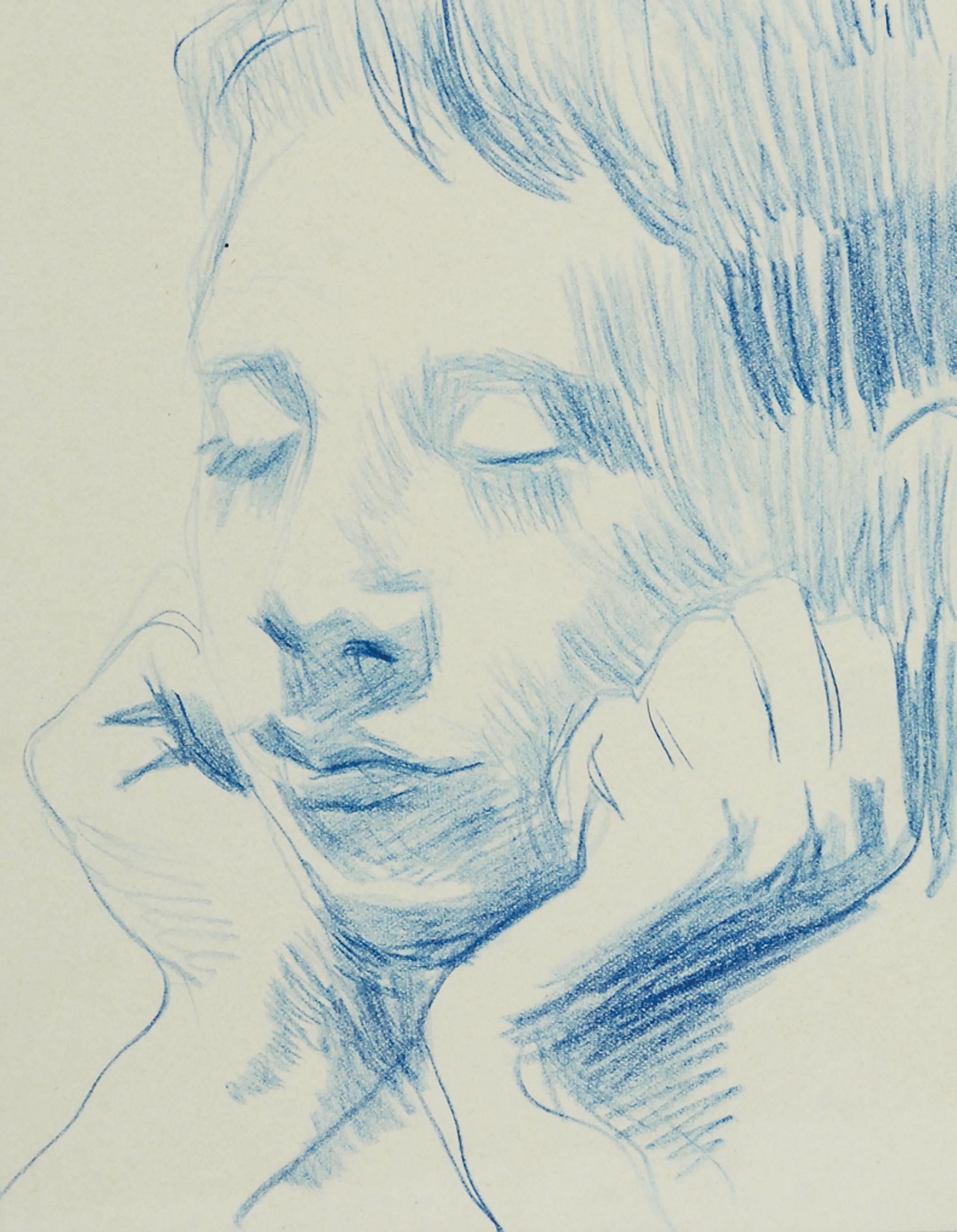 Głowa chłopca z zamkniętymi oczami, wsparta na dłoniach