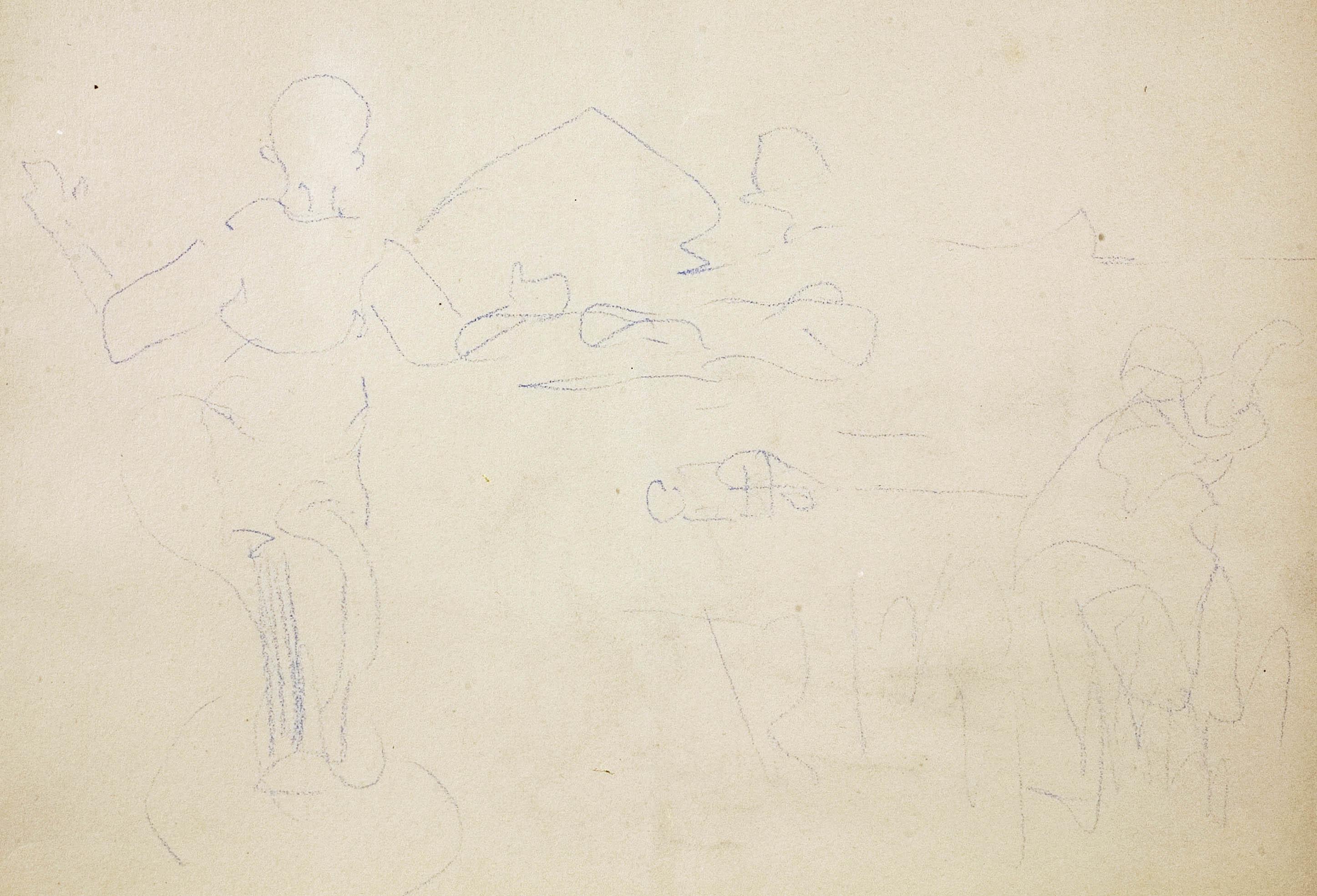 Szkic dzieci przed wiejskim domostwem