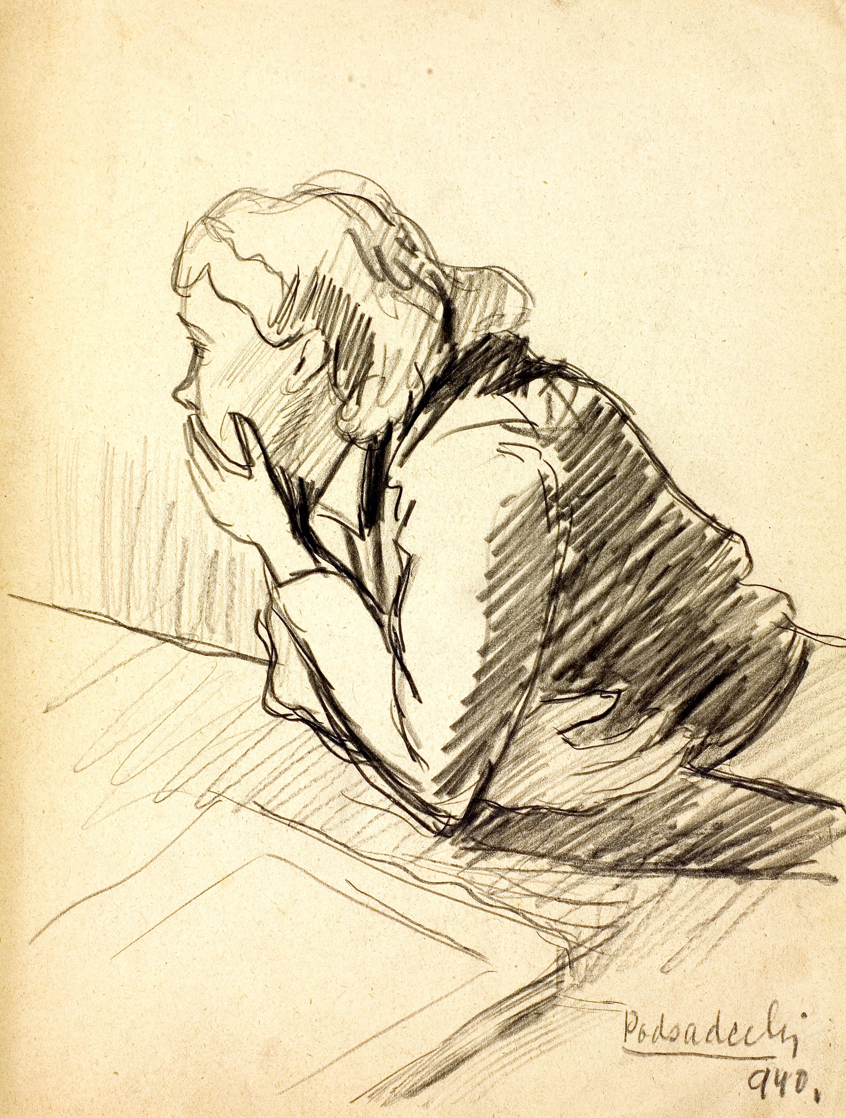 Kobieta wsparta o blat stołu, 1940