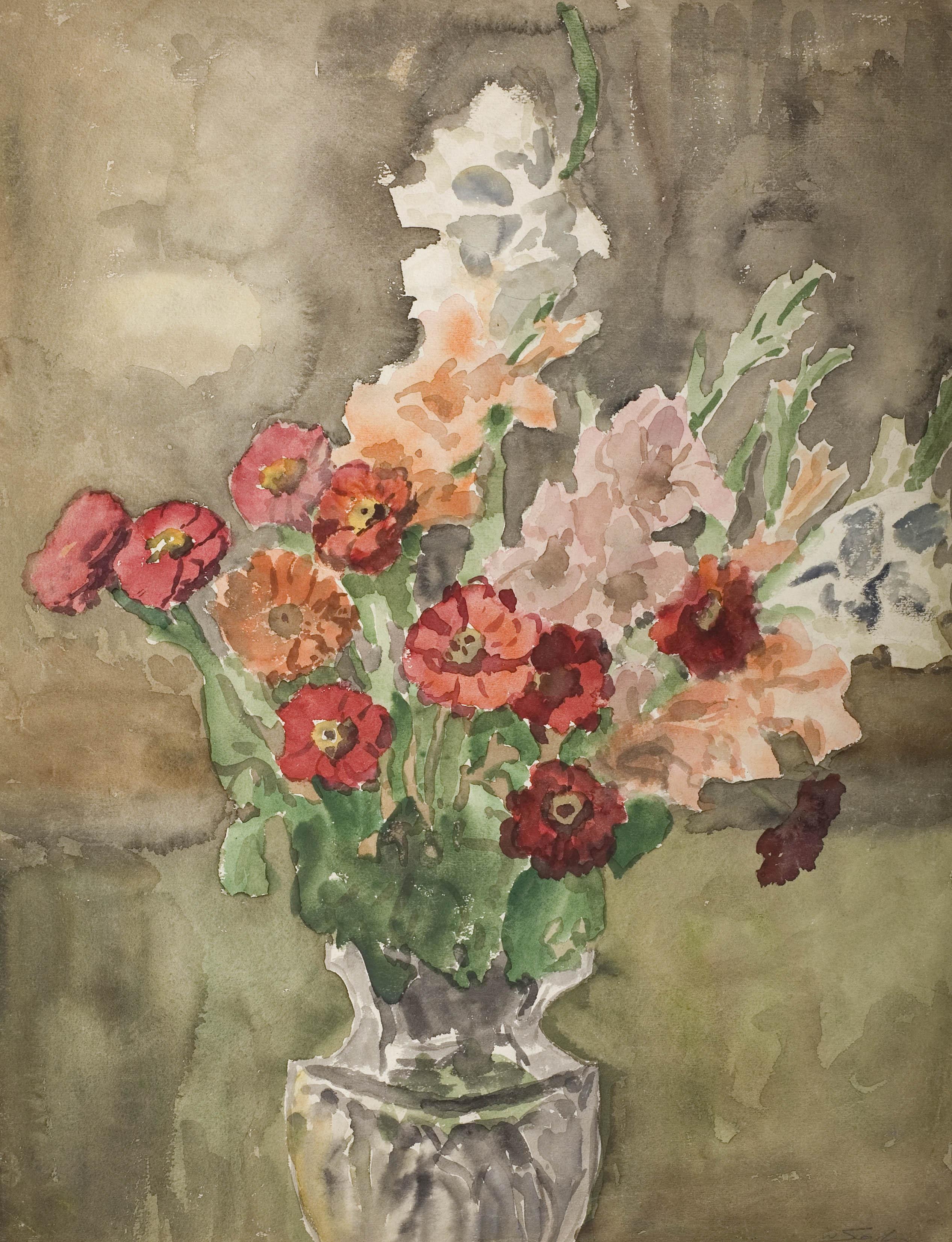 Kwiaty w kryształowym wazonie