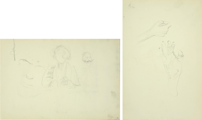 Popiersie młodej kobiety, szkice głowy, ok. 1900