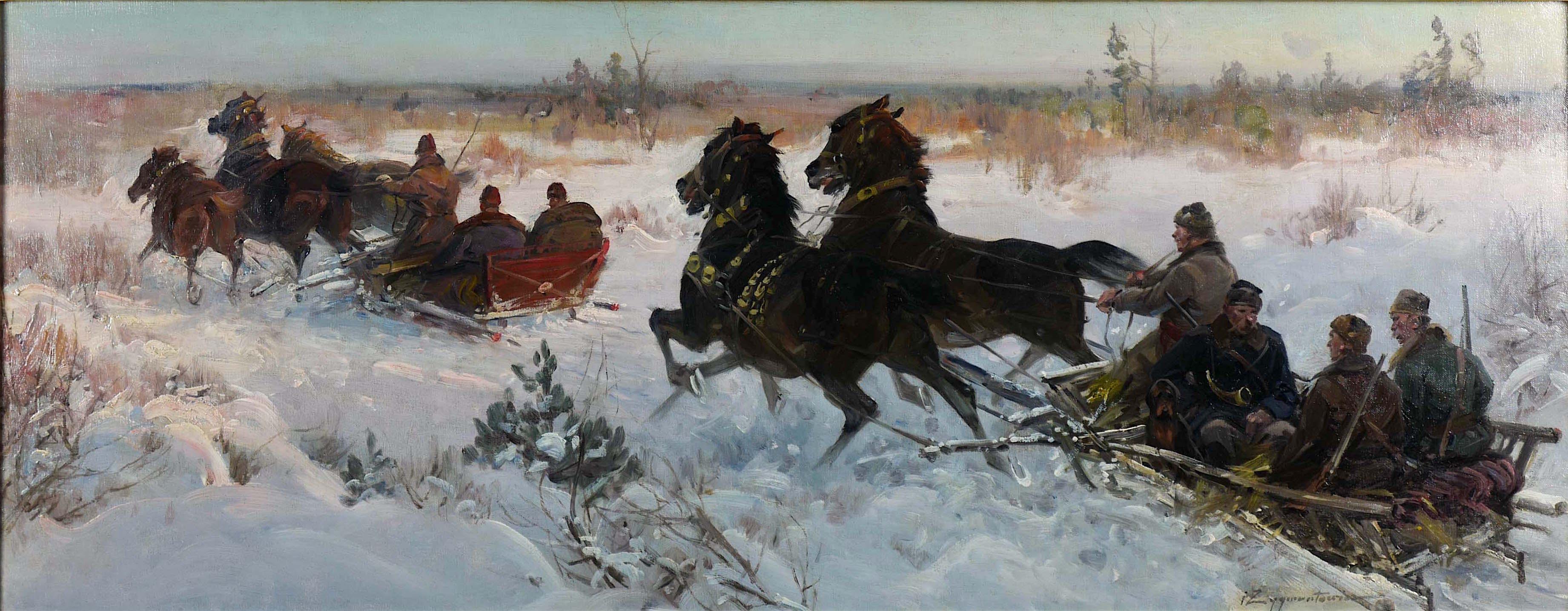 Zima - wyjazd na polowanie.