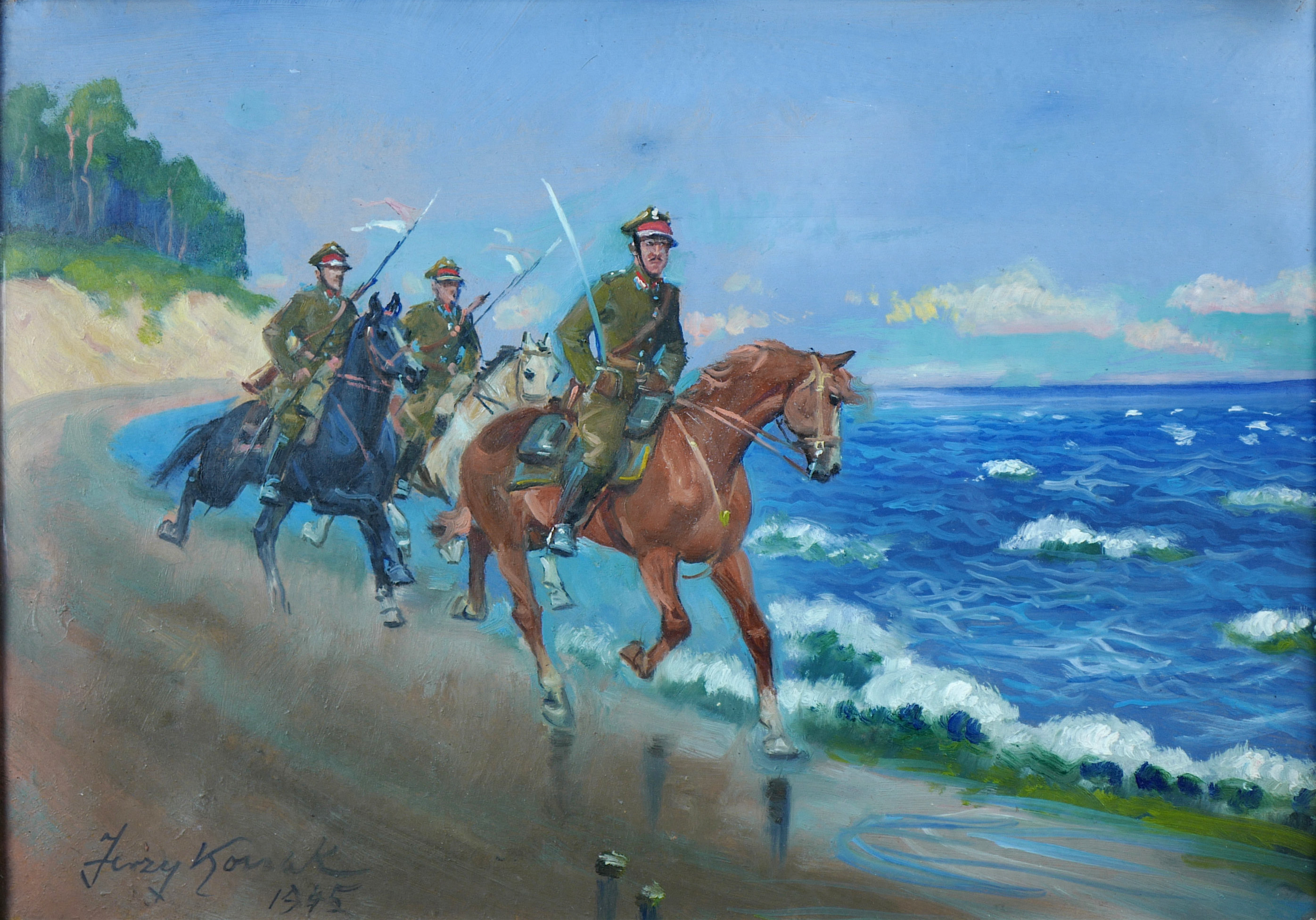 Patrol Ułanów nad Morzem Bałtyckim, 1945 r.