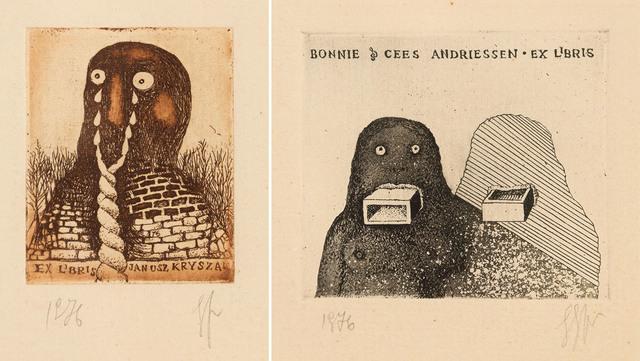 Para exlibrisów: Exlibris Janusza Kryszaka oraz Exlibris Bonnie + Cees Andriessen , 1976