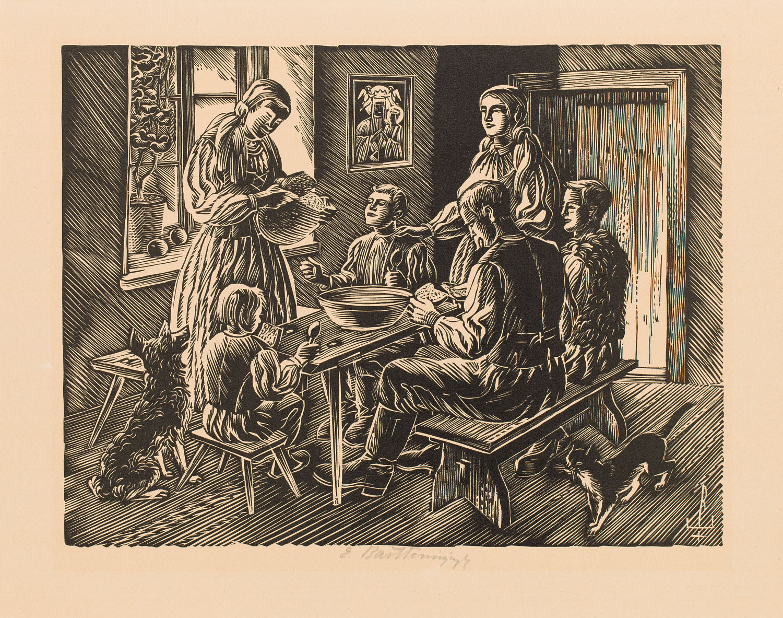 Posiłek w wiejskiej izbie, 1939