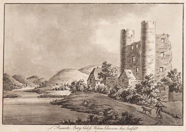 """""""Ruinirtes Berg Schloss Hohen Schwarm bey Saalfelt von aussen"""""""