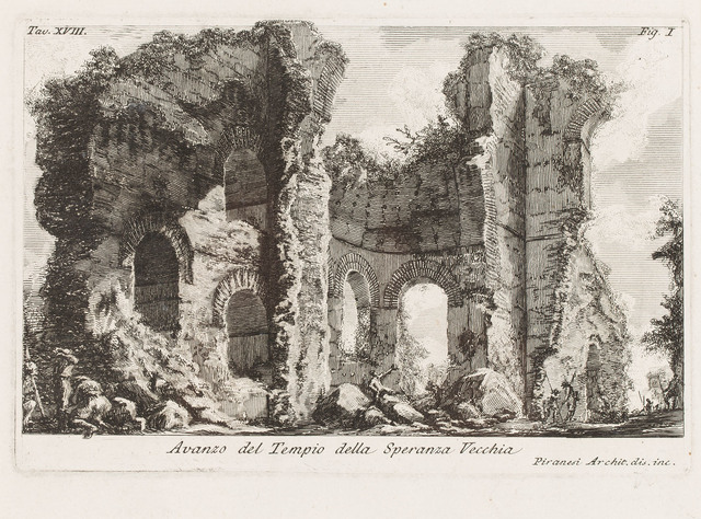 Pozostałości świątyni Speranza Vecchia na Polu Marsowym z Le Antichità Romane