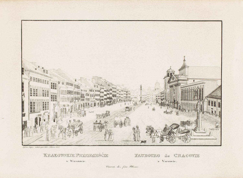 Krakowskie Przedmieście w Warszawie wg rysunku Juliusza Schürera, 1834