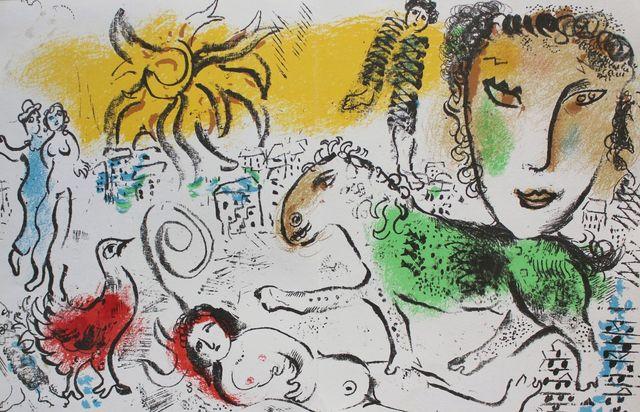 "Zielony koń (""XXe Siècle. Chagall Monumental"", 1973, Mourlot #693)"
