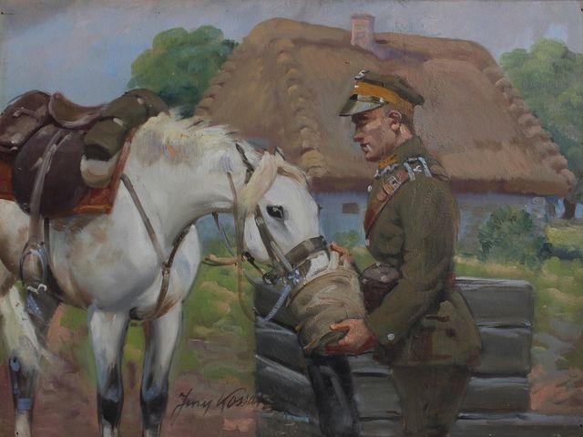 Ułan pojący konia