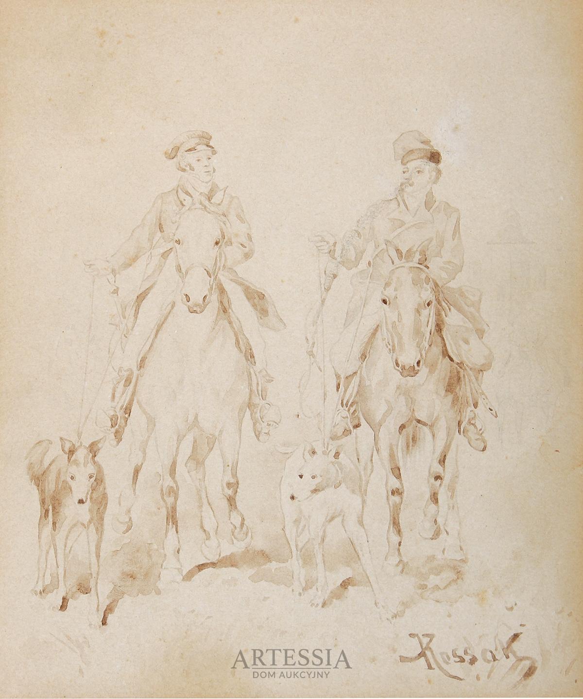 Dwaj jeźdźcy z chartami, 4 ćw. XIX w.
