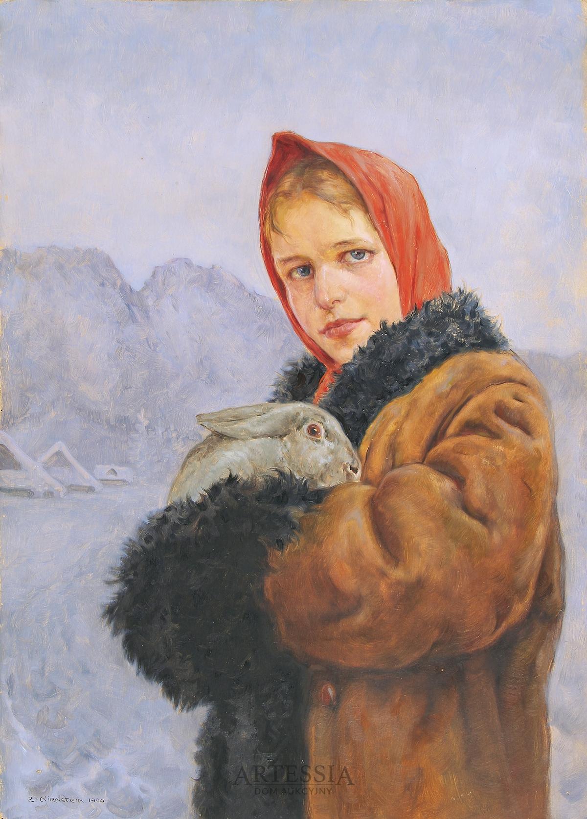Dziewczyna z królikiem na tle Giewontu, 1940