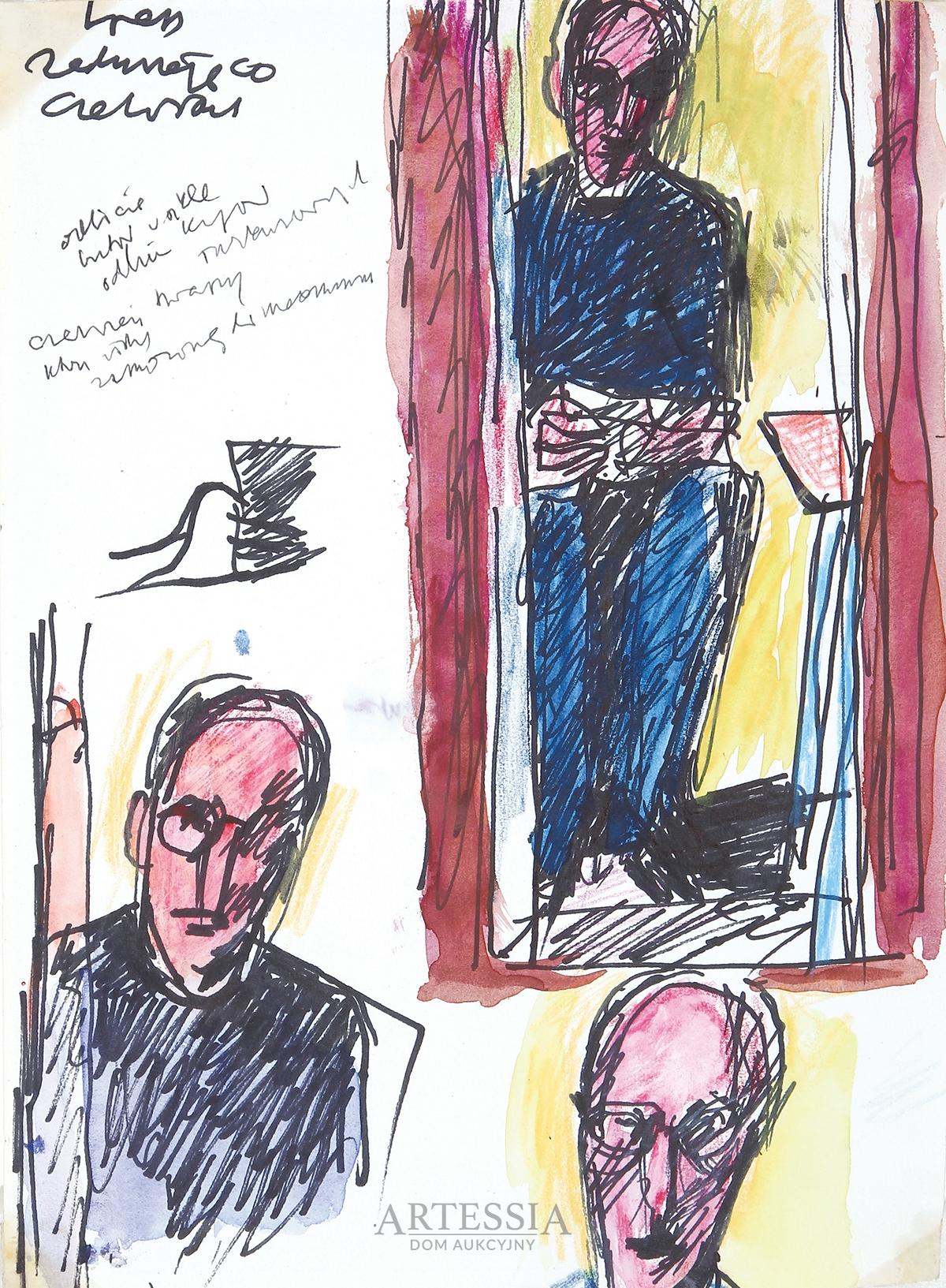 Szkice do autoportretu w lustrze, ok. 1975