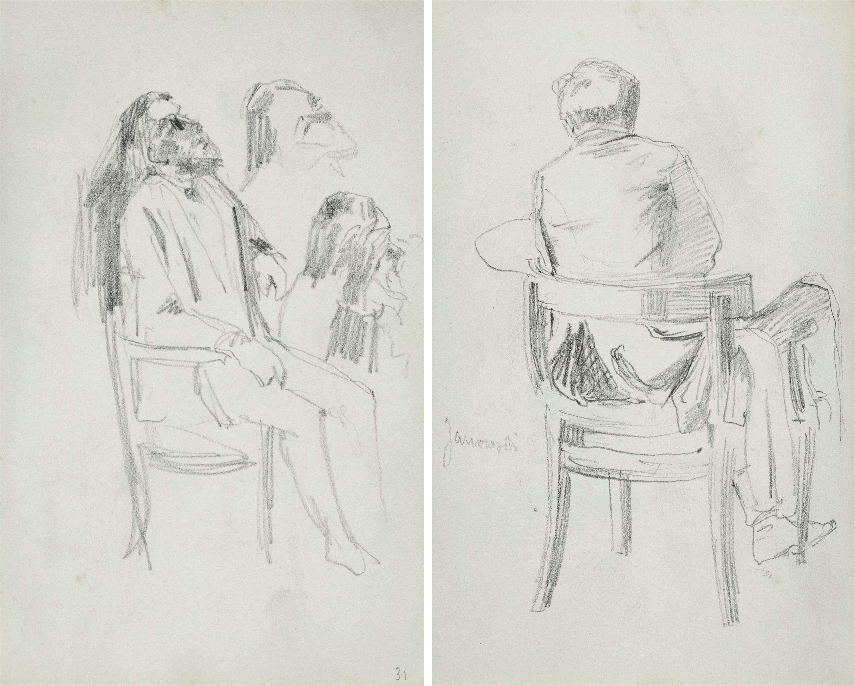 Szkic ukazanego tyłem mężczyzny siedzącego na krześle trzymającego sztalugę