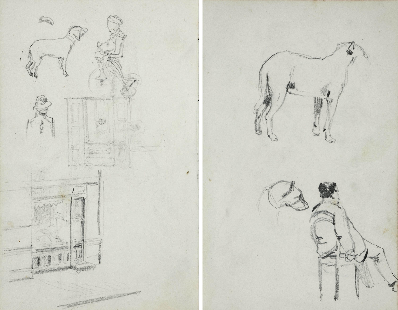 Szkice:  mężczyzny siedzącego na krześle, ukazanego z prawego boku, od tyłu oraz psa