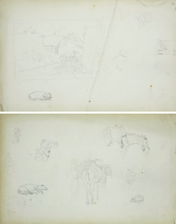 Miniaturowy zarys sceny rodzajowej, szkic śpiącego psa i szkice konia