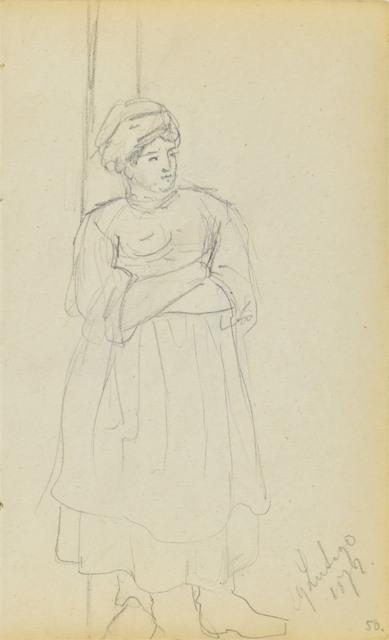 Szkic wiejskiej kobiety stojącej z założonymi rękoma (dat.:29 Lutego 1872)