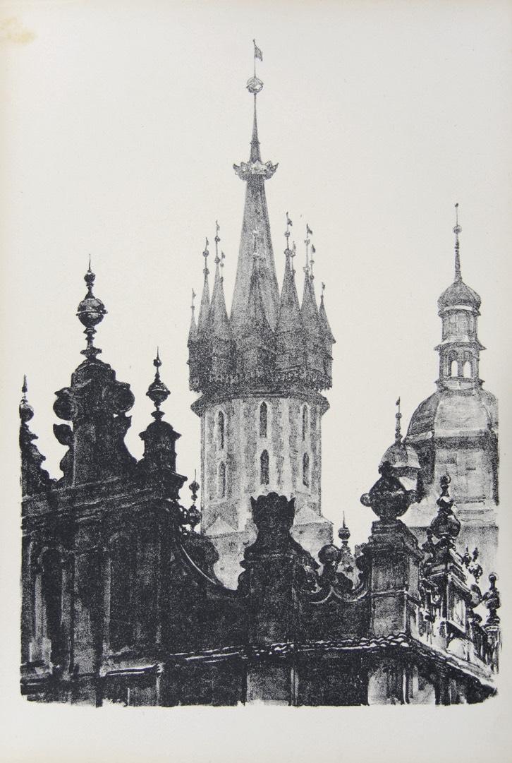 Szczyty Sukiennic i wieże kościoła Mariackiego