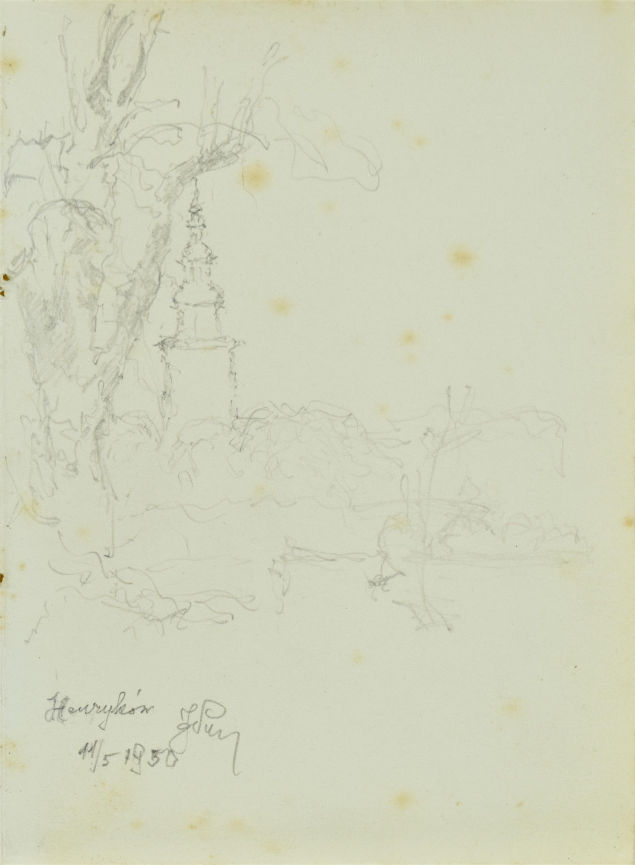 Widok na wieżę opactwa cysterskiego w Henrykowie, 1950