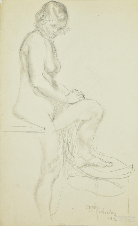 Akt stojącej kobiety z wspartą nogą na krześle