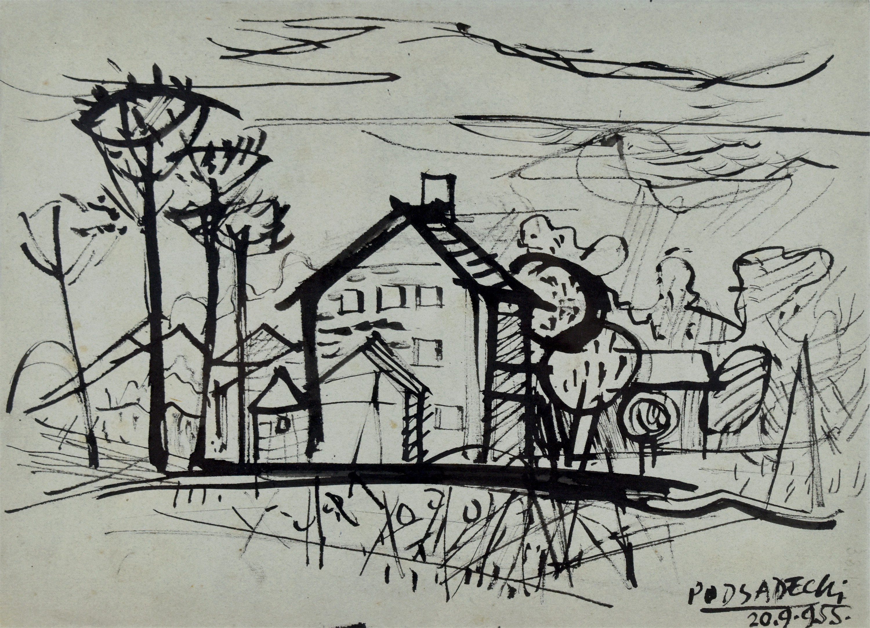 Pejzaż z zabudowaniami, 1955
