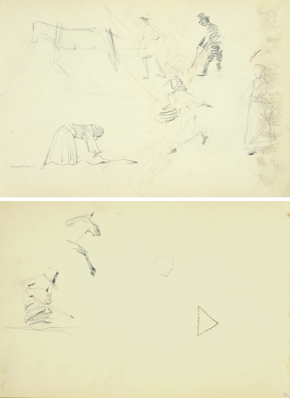 Szkice konia, kobiety pracującej w polu, kobiet i mężczyzny w kapeluszu, ok. 1900