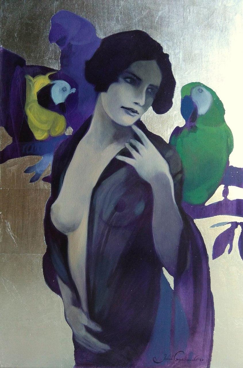 Kobieta z papugami, 2020